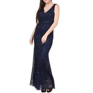 Anudeep Crafts Navy Blue Embellished Gown