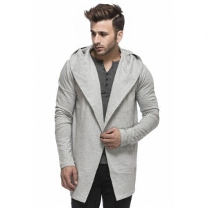 Tinted Grey Cotton Solid Full Sleeve Cardigan
