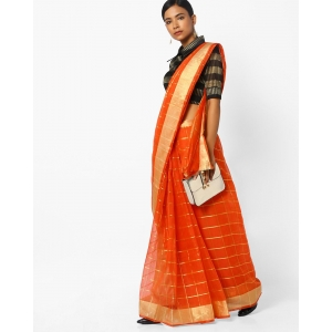 CHHABRA 555 Orange Checked Saree With Contrast Border