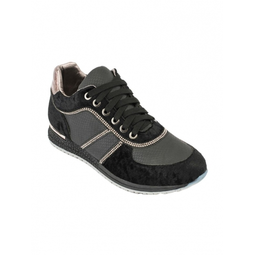 Truffle Collection black synthetic & mesh laceup casual shoes