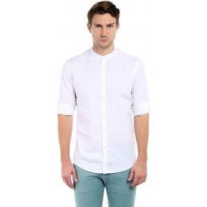 Dennis Lingo White Cotton Solid Slim Fit Casual Shirts