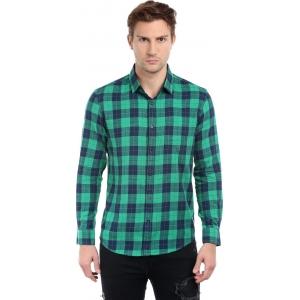Dennis Lingo Green & Black Cotton Checkered Casual Shirts