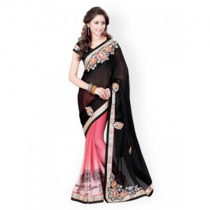 Mirchi Fashion Embroidered Fashion Chiffon Saree