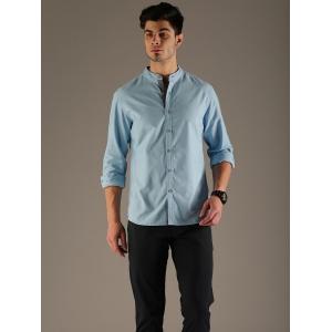 Flying Machine Men Blue Regular Fit Solid Casual Shirt