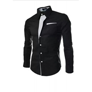 Pearl Ccean Black Solid Party Ware Shirt