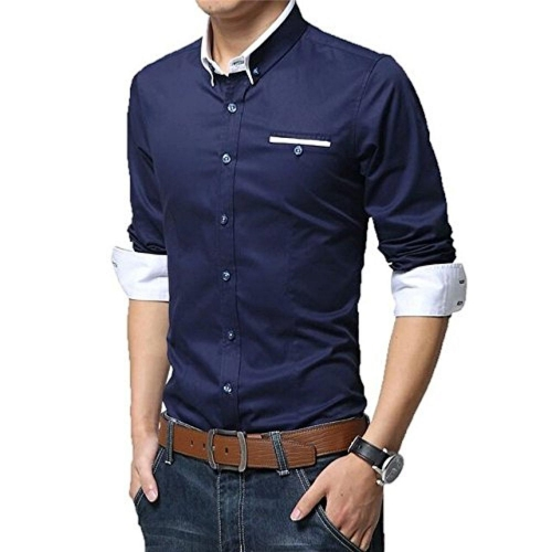 Pearl Ocean Navy Blue Solid Full Sleeve Partywear Shirt