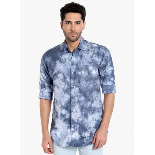 Campus Sutra Blue Printed Casual Shirt