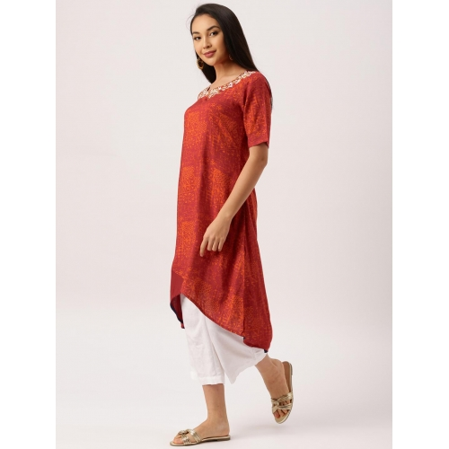 IMARA by Shraddha Kapoor Women Rust Red Printed High-Low Kurta