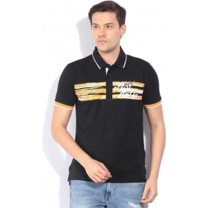Fila Printed Men's Polo Neck Black T-Shirt