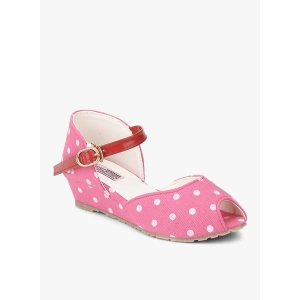 D'chica Pink Fabric Polka Dots Sandals