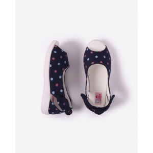 D'chica Navy Blue Canvas Polka Dot Peep-Toes