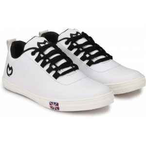 Firstchoice White Synthetic Leather Lace Up Sneakers
