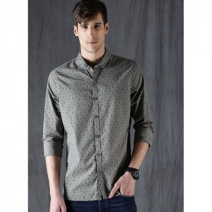 WROGN Men Olive Green Slim Fit Printed Casual Shirt