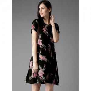 HERE&NOW Black Printed Shift Dress