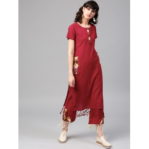 AKS Women Red Solid Fringed Straight Kurta
