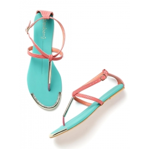 Dressberry Blue Synthetic Flats Sandals
