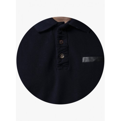 Wrogn Navy Blue Solid Regular Fit Polo T-Shirt