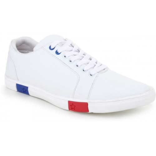 OMIKA Men's White Solid Lace-Up White Sneakers Shoes