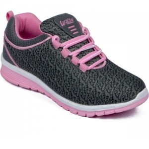Asian Grey Mesh Lace Up Running Shoes For Women