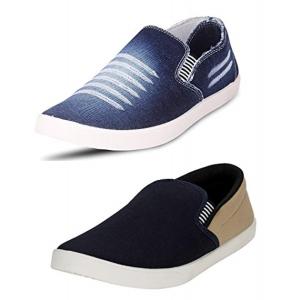 Chevit Men's Denim & Navy Blue Loafers Combo
