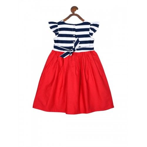 Bella Moda Girls Red Striped Fit and Flare Dress