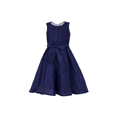 My Lil Princess Baby Girls Birthday Party wear Frock Dress_Bangalori Silk Blue Frock_Bangalori Silk Fabric_4 - 10 Years