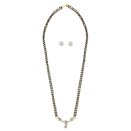 Buy archi collection american diamond mangalsutra pendant with chain archi collection american diamond mangalsutra pendant with chain and earrings for women aloadofball Images