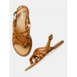 Roadster Tan Brown Solid Open Toe Flats Sandals