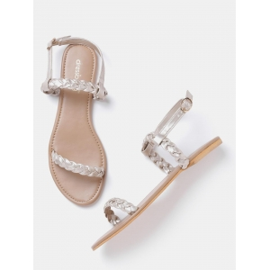 DressBerry Silver-Toned Braided Flats Sandals