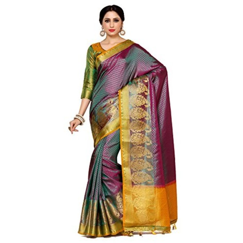 Mimosa By Kupinda Purple Art Silk Kanjivaram Style Saree