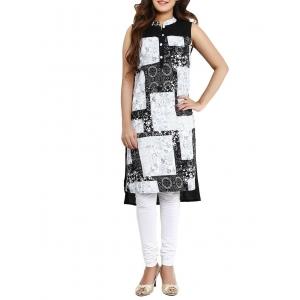 Aaboli black and white rayon high-low kurta