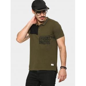 Abof Military Green & Black Printed Slim Fit Cut & Sew Polo T-shirt