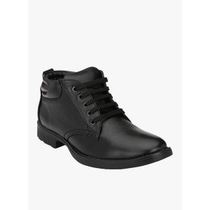 Mactree Black Synthetic Leather Lace Up Mid Ankle Boots