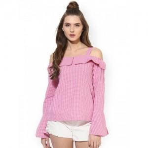 Besiva Women Pink & White Checked Bardot Top