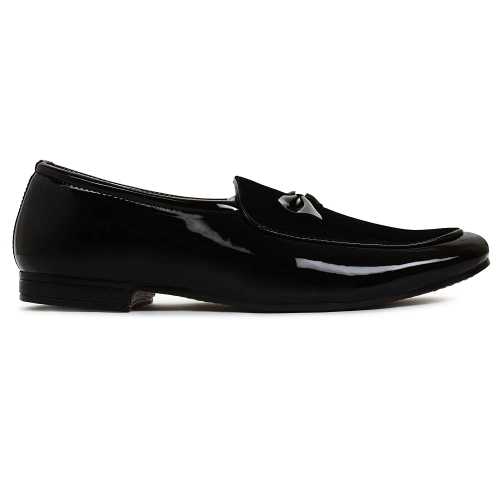 BUWCH Black Patent Leather Slip On Casual Shoe