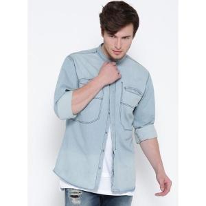 Roadster Light Blue Washed Regular Fit Denim Shirt