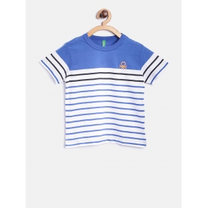 United Colors of Benetton Boys White Striped Round Neck T-shirt