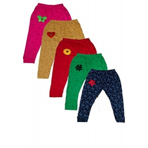 T2F Girl's MultiColor Cotton Printed Pack Of 5 Leggings