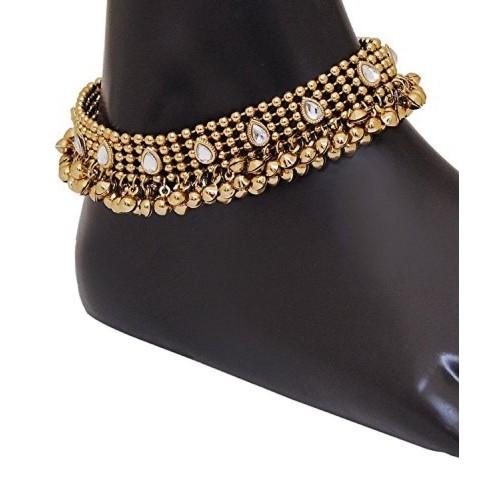 Shining Diva Antique Look Kundan Pair Alloy Anklet
