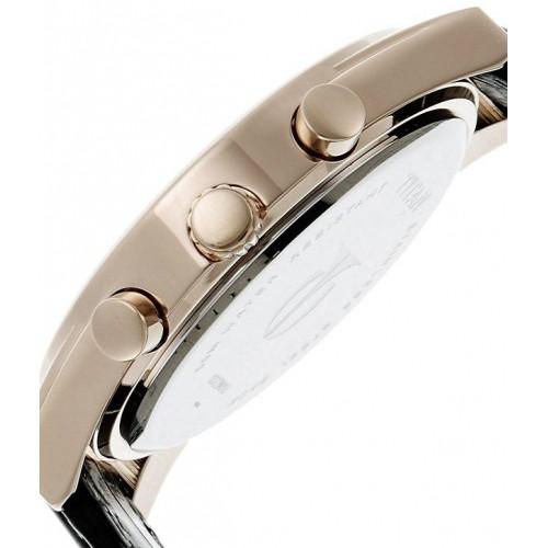 Titan Black Round Leather Chronograph Watch