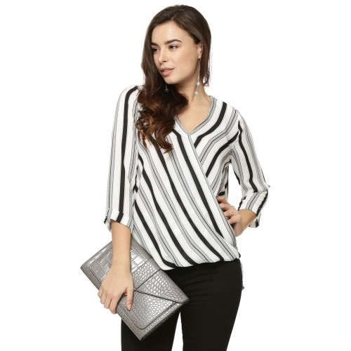 577a07898099a1 Buy New Look Black n White Stripe Wrap Front Shell Top online ...