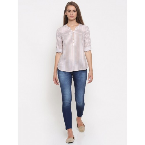 a3ed93f4ed ... Top; Fame Forever by Lifestyle Women Beige & White Striped Shirt Style  ...