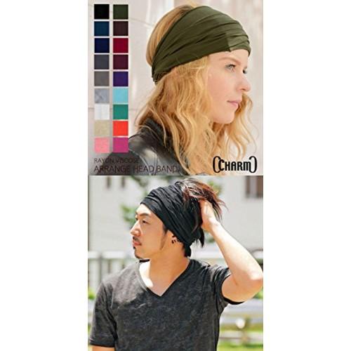 Casualbox mens Elastic Bandana Headband Japanese Long Hair Dreads Head wrap Mix Navy