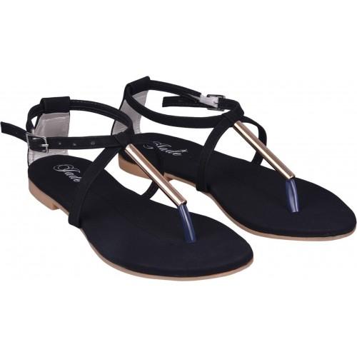 Jade Black PVC Casual Flats Sandal