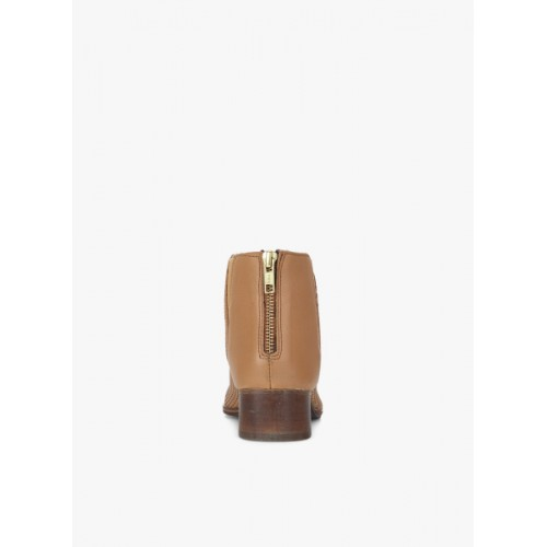Carlton London Women Tan Solid Leather Heeled Boots