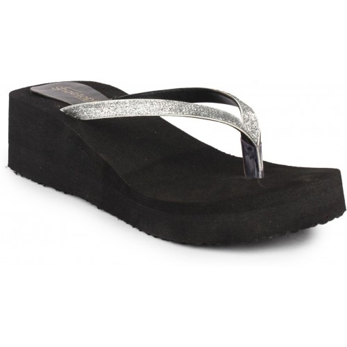 Shoetopia Silver & Black Synthetic Slip On Wedges