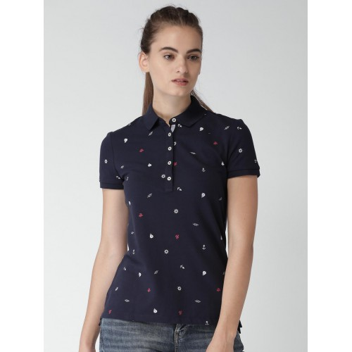 4f15d1ffd Buy Tommy Hilfiger Women Navy Blue Printed Polo T-Shirt online ...