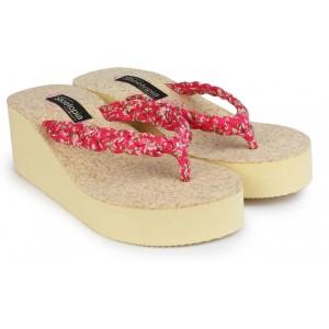Shoetopia Women Red Rubber Slip-on Flip Flops
