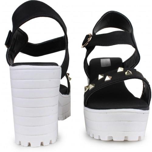 London Steps Women Black Wedges Sandals