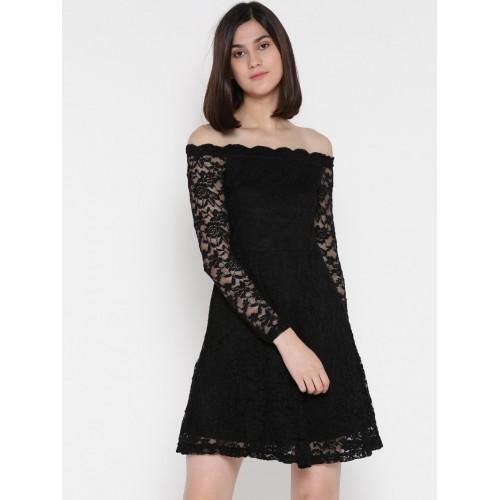 Buy ONLY Women Black Lace Fit   Flare Dress online  a3fe4ef3b
